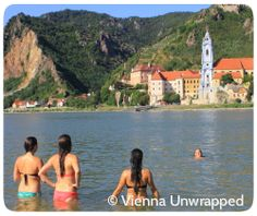 Plunging into the Danube just opposite the village of Duernstein at UNESCO World Heritage Site Wachau Valley, an hour west of Vienna. http://www.vienna-unwrapped.com/wachau-tour.html
