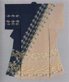 """Formal kimono with embroidery. """"Gingko-Lozenge Design."""" // FUKUDA Kijuu (click image for more)"""
