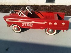 1959 Murray Red Fire Truck  Pedal Car, All Original Parts in Working Condition #Murray