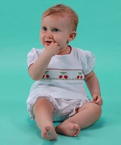 Look at this White & Red Cherries Pima Cotton Bloomers Set - Infant on #zulily today!