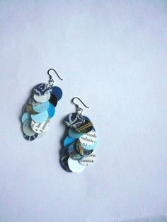 Recycled paper earrings laminated paper dangle by Manufactapaper, $15.00