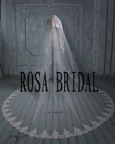 2 tiers bridal veil lace Long wedding veil Lace edge von rosabridal