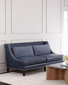 H8RZK Massoud Colbie Navy Leather Sofa