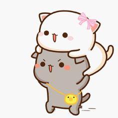蜜桃猫 Cute Bear Drawings, Cute Animal Drawings Kawaii, Kawaii Drawings, Cute Cartoon Images, Cute Love Cartoons, Cute Cartoon Wallpapers, Cute Kawaii Animals, Kawaii Cat, Chibi Cat