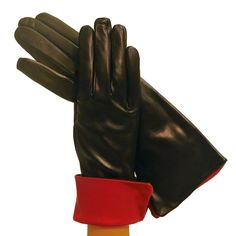 Black Ladies Cashmere-Lined 4bt Italian Leather Gloves with Red Cuff at the wrist.