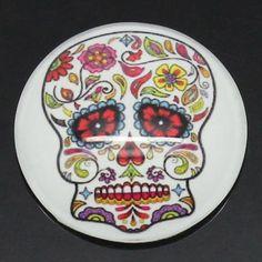 100PCs Glass Embellishment Findings Flower Skull Multicolor 25mm Dia.