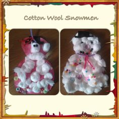 Cotton wool snowman, decorated with buttons, beads, Pom poms and a Pipecleaner scarf.