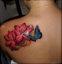 butterfly tattoo with flowers 13 - 50 Butterfly tattoos with flowers for women   <3