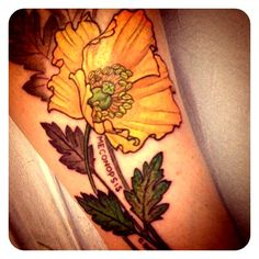 Art nouveau poppy tattoo