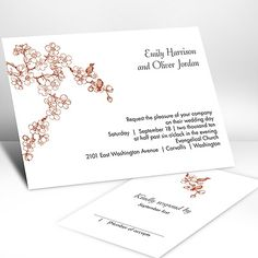 Birds in Cherry Blossoms for wedding invitations