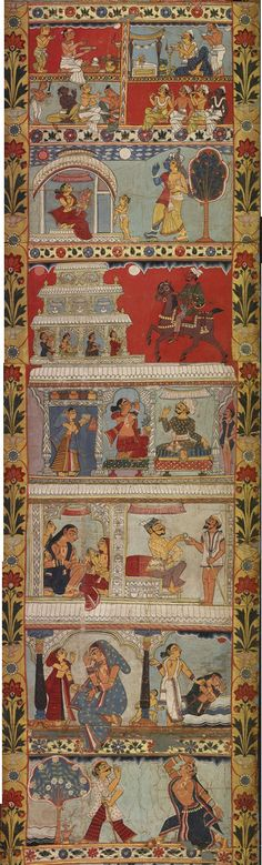 Scenes from the legend of Gazi - part 4 - a scroll painting - Murshidabad District Bengal India - Circa 1800 This is a story of miracle-working Muslim saints, including Gazi and Manik. This type of long scroll painting was used by itinerant storytellers in rural Bengal, as a visual aid to a spoken narration of the myths and exploits of the painted scenes.
