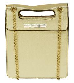 Bolsa Dourada Transversal - linda bolsa casual com alça em metal dourado #bolsatransversal #bolsafeminina #bolsadourada #chademulher