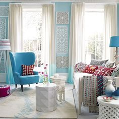 Blue and white living room with carved wood panels | Decorating | housetohome.co.uk