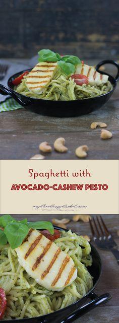 Spaghetti with Avocado-Cashew Pesto and grilled Halloumi, a vegetarian pasta recipe with healthy ingredients. Vegetarian Pasta Recipes, Veggie Recipes, Veggie Food, A Food, Grilled Halloumi, Cherry Tomatoes, Pesto, Food Processor Recipes, Avocado