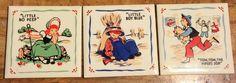 3 Vintage 1950s Park Avenue Nursery Rhyme Decorative Ceramic Tile Mother Goose