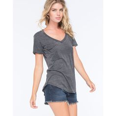 Others Follow Womens Pocket Tee ($22) ❤ liked on Polyvore featuring tops, t-shirts, black, v-neck tee, curved hem t shirt, slouchy tee, short sleeve v-neck tee and short sleeve pocket tee