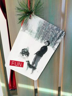 vintage Surprise Valley photo hang tag for sled