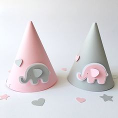 Excited to share the latest addition to my #etsy shop: Pink Gray Elephant Party Hats 1 st Baby Girl Birthday Party Elephant Baby Shower Decorations Paper Cone Hat Pink Gray Photo Prop Cake Smash