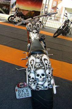 Skulls, skulls, and more skulls. Custom Choppers, Custom Harleys, Custom Bikes, Harley Bikes, Harley Davidson Motorcycles, Cowboys From Hell, Custom Tanks, Chopper Bike, Rocker