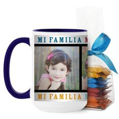 Mi Familia Mi Vida Mi Felicidad Mug, Blue, with Ghirardelli Minis, 15 oz, White