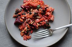 Warm Orzo, beets & greens salad. If you can stand to have boiling pots on the stove, this is a tasty one.