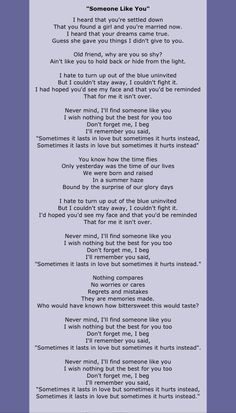 Someone Like You- Adele Famous Song Lyrics, Great Song Lyrics, Me Too Lyrics, Songs To Sing, Music Lyrics, Saddest Songs, Greatest Songs, Farewell Quotes, Love Quotes For Him Deep