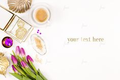 Styled desktop purple tulips Styled desktop with desk accessory and purple tulips Photo-based mockup - white negative space - blo by JustLikeMyDesktop Business Illustration, Pencil Illustration, Desktop, Purple Tulips, Banner Images, Header Image, Glass Terrarium, Gold Glass, Creative Sketches