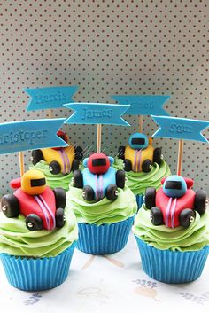 Race Car Driver Cupcakes Learn how to create your own amazing cakes: www.mycakedecorating.co.za #cake #baking