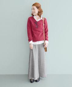 ROSSO(ロッソ)のROSSO ムジロングスカート(スカート)|グレー