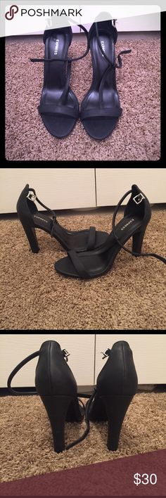 """Express T strap heels Brand new never been worn black T strap heels are the perfect way to dress up every outfit and make a statement. 4"""" heels help out shorties like me. Size 8 Express Shoes Heels"""
