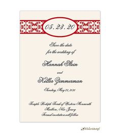Elegant Red Band Save The Date