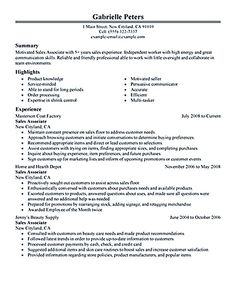 shoe sales associate resume