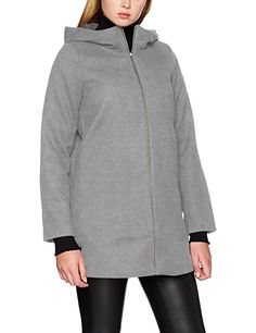 Vila Damen Mantel Vidaniella Jacket-Noos, Grau (Medium Grey Melange Medium  Grey Melange