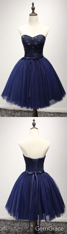 Navy blue short tulle party dress