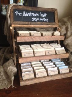 Soap is certainly something that has quite a bit of history attached to it. As soap became more of a lifestyle accoutrement, soap making kits have come to the fore. What is really exciting about soap making kits is that you can give v Craft Fair Displays, Display Ideas, Display Stands, Craft Booths, Booth Ideas, Farmers Market Display, Market Displays, Store Displays, Retail Displays