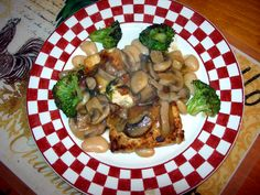 Baked tofu with tri-mushroom sauce and garlic broccoli