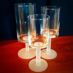 #DanishModern #Dansk #Rondure #FrostedGlass Stem #WineGlasses / #Goblets Set Of 6 . Info @ link below.