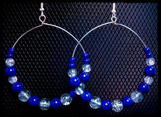 Blue and Clear Bead Hoop Earrings