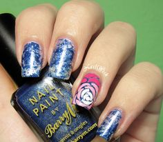 Blue Stained Glass Mani with Rose Accent Nail