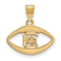 Gold Plated Sterling Silver LogoArt University of South Carolina Pendant in Football GP018USO