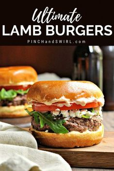 I'm not exaggerating when I call these the ultimate Lamb Burgers: freshly ground lamb shaped, seasoned and cooked to perfection, creamy feta cheese, peppery arugula, sweet tomato and a feather light brioche bun slathered with Grilled Hamburger Recipes, Lamb Burger Recipes, Grilled Turkey Burgers, Pork Burgers, Gourmet Burgers, Grilling Recipes, Beef Recipes, Stuffed Burgers, Burger Ideas
