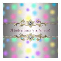 Elegant pastel polka dots with gold and diamond trim on a baby girl baby shower invitation. A Princess is on her way.