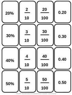 459 Printable Cards covering fractions, decimals, percentages, times tables etc. Great resource to print and laminate for math stations. Math For Kids, Fun Math, Math Skills, Math Lessons, Math Fractions, Dividing Fractions, Equivalent Fractions, Multiplication Tricks, Math Charts