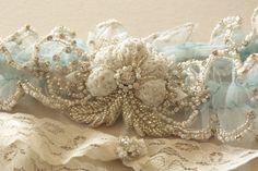 Реликвия свадебные подвязки набор в сине - Париж романтика синий