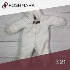 510c22feda76 Carter s Fuzzy Coverall Like new white fuzzy coverall with fold over cuffs  to keep hands warm