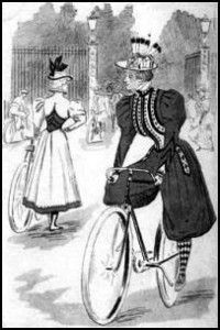 Cycling, for example, had been introduced around 1880 and had become hugely popular by 1894. It was impossible to ride a bicycle in a trailing skirt and layers of petticoats, so something had to give. And it did. Bike-riding young women pioneered a more radical costume, including a divided skirt worn under a long coat, breeches beneath skirts, or bloomers and jackets. http://www.brandalleysales.co.uk/our-customers-and-staff/a-snapshot-of-historical-sporting-style/