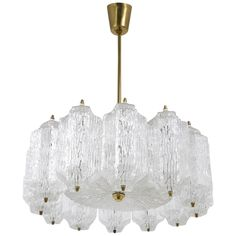 Kalmar Brass Chandelier with Textured Ice Glass, Austria, 1950s