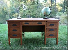 I almost have this desk! (said backwards) My desk has a door on the left side where the typewriter is supposed to spring up. Mine is a dark mahogany. Think I could get something like this out of it? Vintage Teacher's Desk Makeover by virginiasweetpea.com