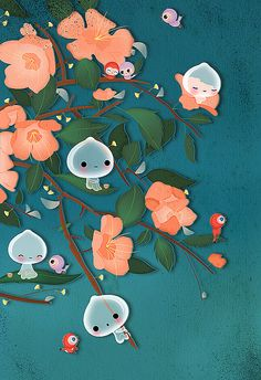 Little good nature spirits enjoy a spring night. Inspired by Hiroshige´s work. Silvia, Freelance illustrator, Germany.