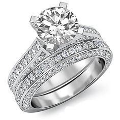 Ct Round Cut Diamond Bridal Sets Engagement Ring White Gold Over Perfect Engagement Ring, Engagement Wedding Ring Sets, Engagement Ring Styles, Engagement Ring Settings, Bridal Ring Sets, Bridal Rings, Cheap Wedding Rings, Wedding Jewelry, Diamond Solitaire Rings